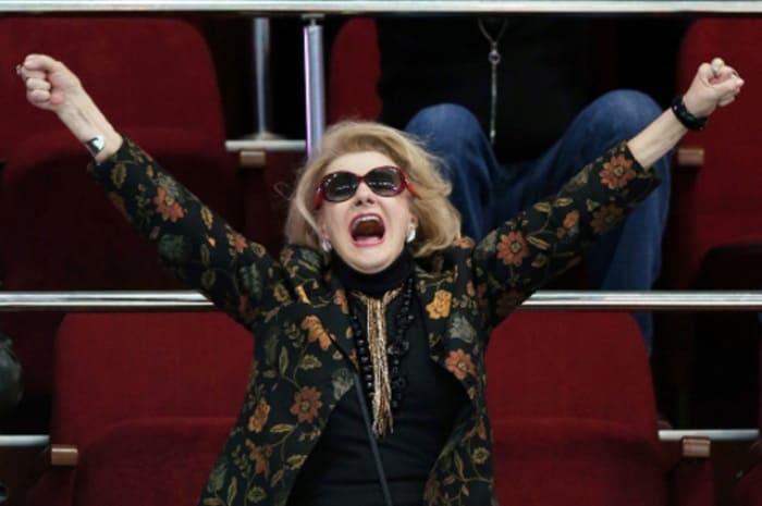 Светлана Дружинина на трибуне во время матча, 2012 г.   Фото: aif.ru