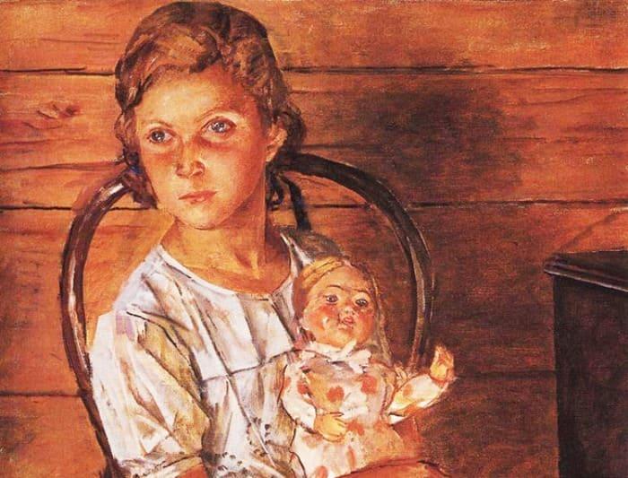 К. Петров-Водкин. Татуля, или Девочка с куклой, 1937. Фрагмент | Фото: kino-teatr.ru