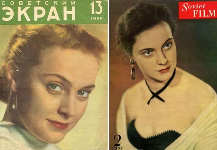 Актриса на обложках журналов | Фото: fb.ru и kino-teatr.ru