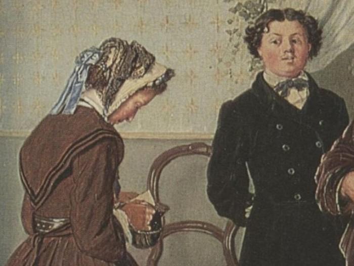 В. Перов. Приезд гувернантки в купеческий дом, 1866. Фрагмент | Фото: art-portrets.ru