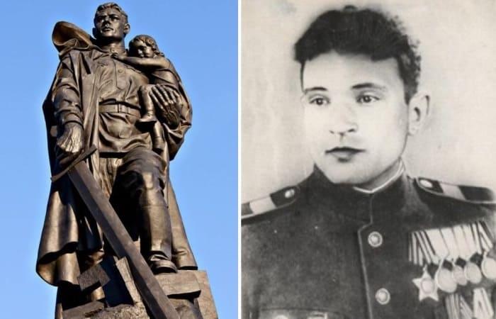 Памятник Воину-освободителю в Берлине и его прототип – советский солдат Николай Масалов | Фото: oursociety.ru и litprichal.ru