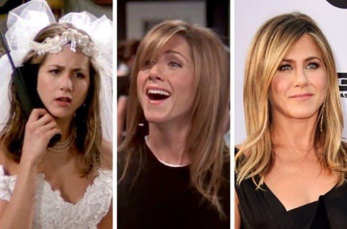 Дженнифер Энистон в самом начале телешоу, в последнем сезоне и в наши дни | Фото: toybytoy.com