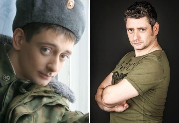 Антон Эльдаров в сериале *Солдаты* и в наши дни | Фото: teleprogramma.pro и kino-teatr.ru