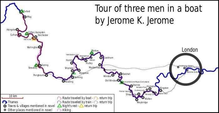 Маршрут героев Джерома по Темзе