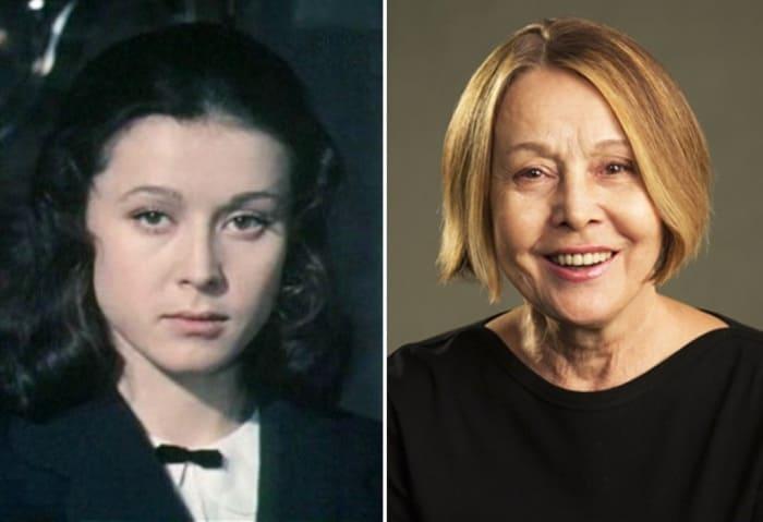 Елена Прудникова в фильме *Два капитана*, 1976, и в 2017 г. | Фото: kino-teatr.ru и 24smi.org