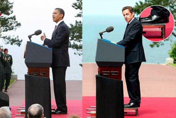 Барак Обама и Николя Саркози во время выступления