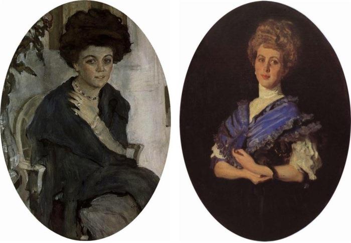 Валентин Серов. Портрет Е. П. Олив, 1909. Портрет Е.С.Карзинкиной, 1906