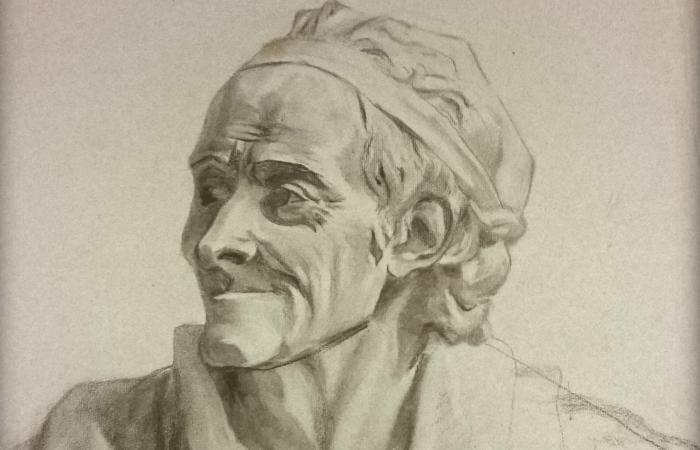 Рисунок Варвары Пушкиной. Бюст Вольтера   Фото: obzor.lt