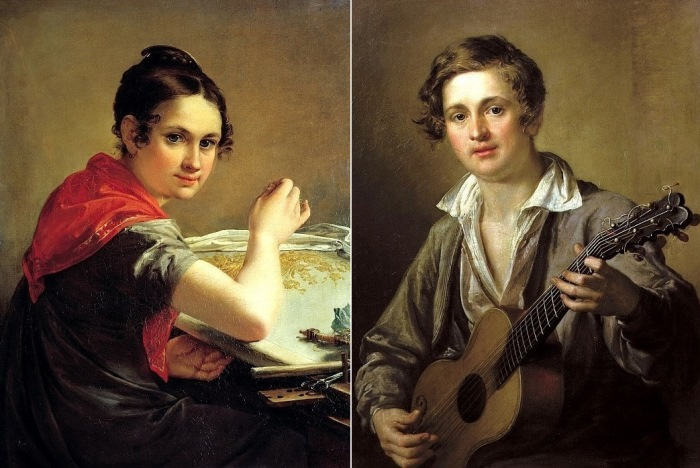 В. Тропинин. Слева – Золотошвейка, 1826. Справа – Гитарист, 1823