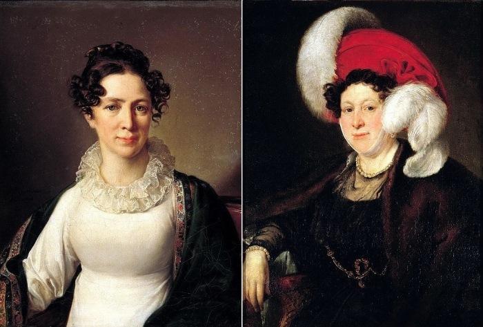 В. Тропинин. Слева – Портрет Анны Андреевны Тропининой, сестры художника, 1827. Справа – Портрет графини Н. А. Зубовой, 1834