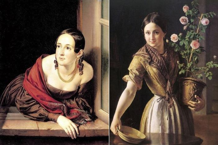 В. Тропинин. Слева – Женщина в окне (Казначейша), 1841. Справа – Девушка с горшком роз, 1850