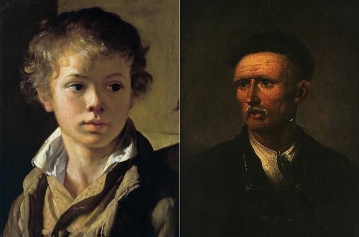 В. Тропинин. Слева – Портрет сына Арсения, 1818. Справа – Портрет пожилого украинского крестьянина, 1820