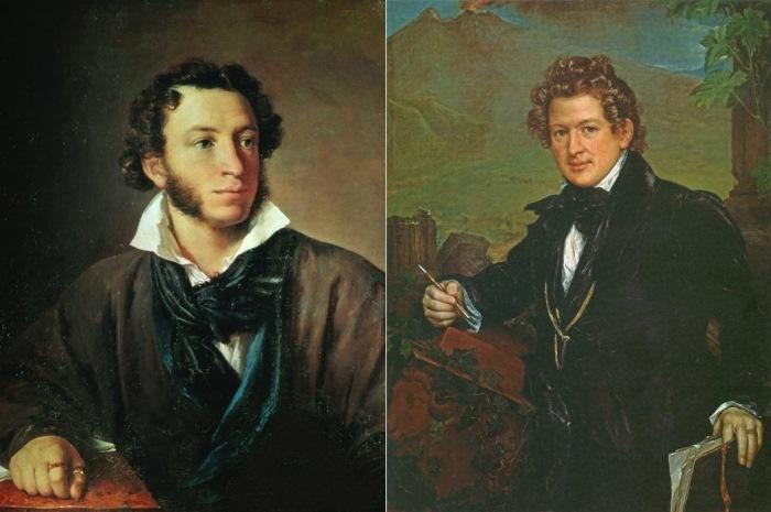 В. Тропинин. Слева – Портрет А. С. Пушкина, 1827. Справа – Портрет К. Брюллова, 1836