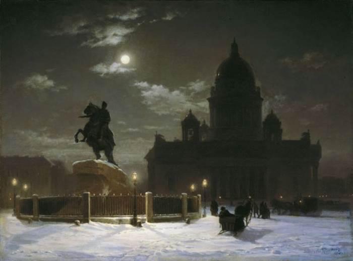 В. Суриков. Вид памятника Петру І на Сенатской площади в Петербурге, 1870