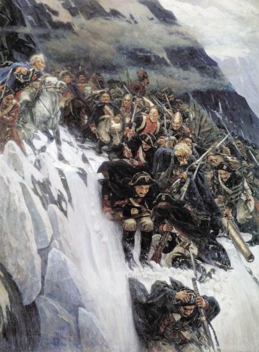 В. Суриков. Переход Суворова через Альпы, 1899