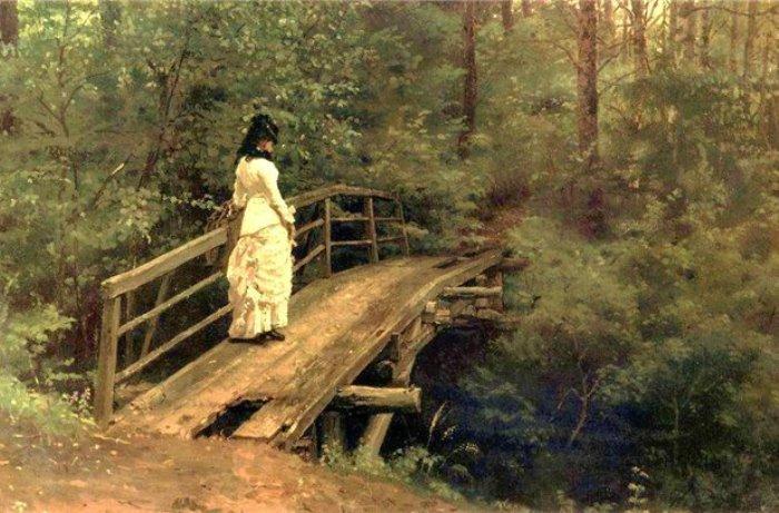 Репин И. Е. Летний пейзаж. В. А. Репина на мосту в Абрамцево, 1879 | Фото: wm-painting.ru