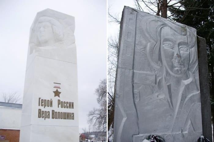 Памятники Вере Волошиной на могиле и на месте казни | Фото: pomnivoinu.ru