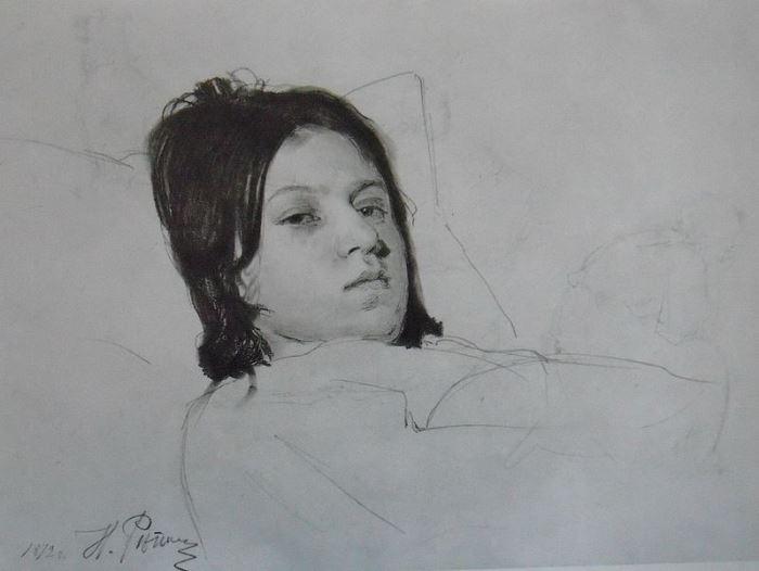 Репин И.Е. Этюд. В. А. Репина, лежащая в постели, 1872 | Фото: artchive.ru