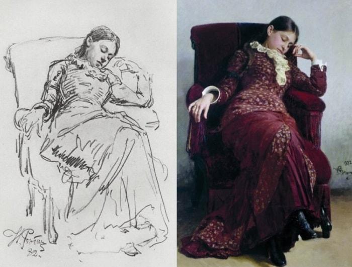 Репин И.Е. Слева – Отдых (набросок), 1882. Справа – Отдых. Портрет жены художника, 1882 | Фото: gallerix.ru