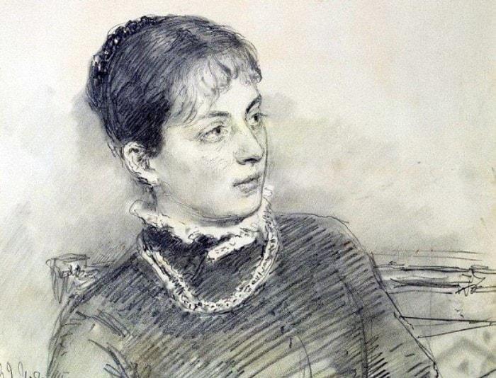 Репин И.Е. Портрет молодой жены, сидящей на диване, 1881. Фрагмент | Фото: gallerix.ru