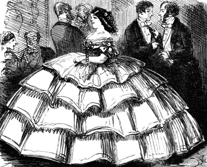Карикатура на кринолин, 1858