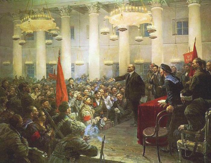 Владимир Серов. Выступление В. И. Ленина на II Всероссийском съезде Советов, 1955 | Фото: petroart.ru