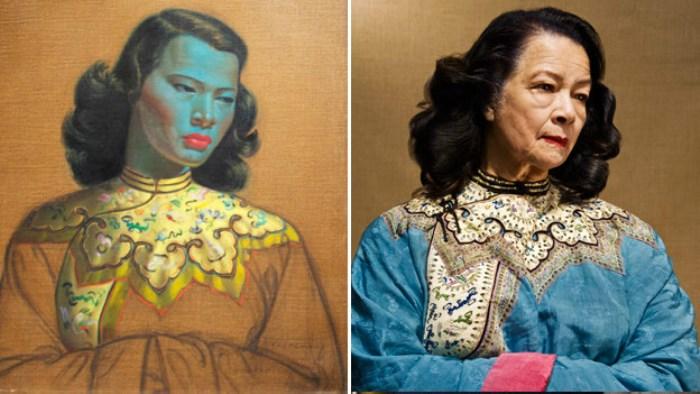 *Китаянка* (или *Зеленая леди*) Владимира Третчикова и модель, которая позировала художнику для этой картины – Моника Пон-су-сан