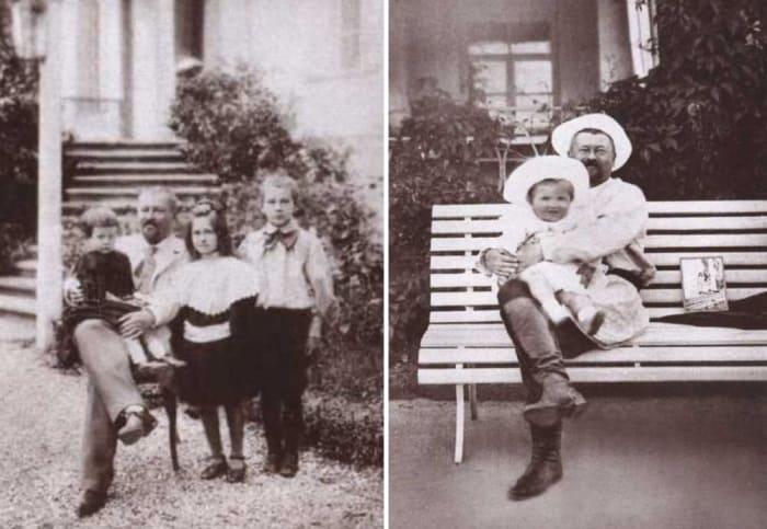 Савва Морозов с детьми Марией, Еленой и Тимофеем, 1897, и с младшим сыном Саввой, 1904 | Фото: coollib.xyz