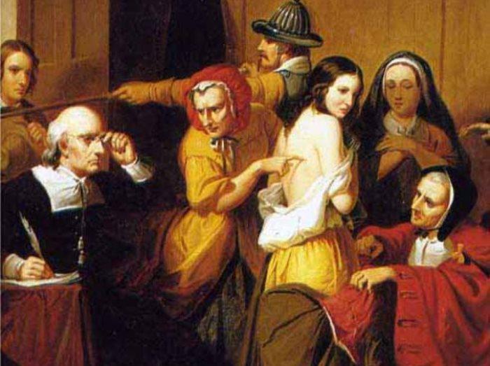 *Испытание ведьмы*. Картина XIX века, художник Thompkins H. Matteson