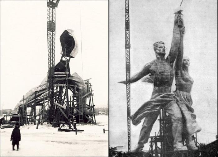 Слева – сборка статуи на опытном заводе. Справа – собранная скульптура   Фото: zamos.livejournal.com