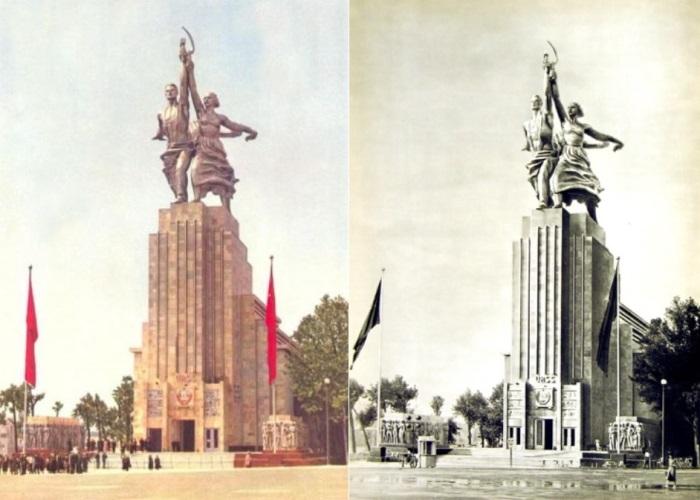 Советский павильон на выставке в Париже, 1937 | Фото: zamos.livejournal.com и liveinternet.ru