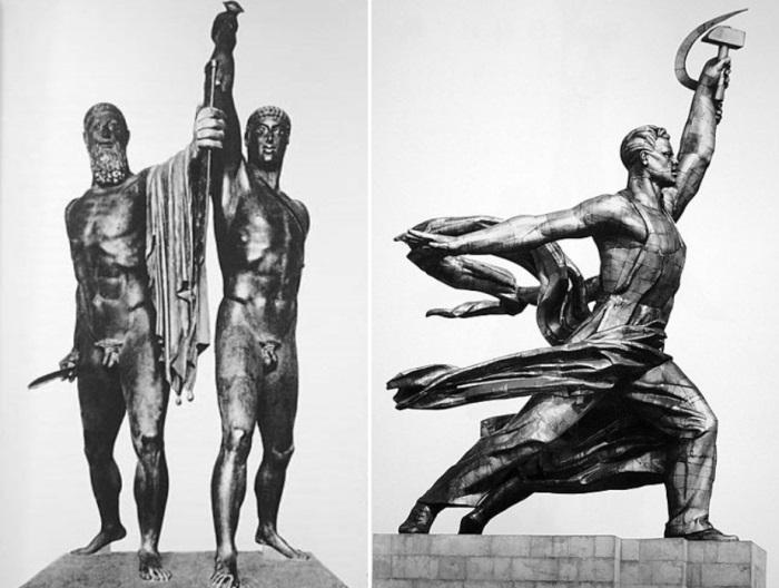 Слева – Тираноборцы. V в. до н. э. Справа – скульптура Веры Мухиной *Рабочий и колхозница* | Фото: vivovoco.ibmh.msk.su