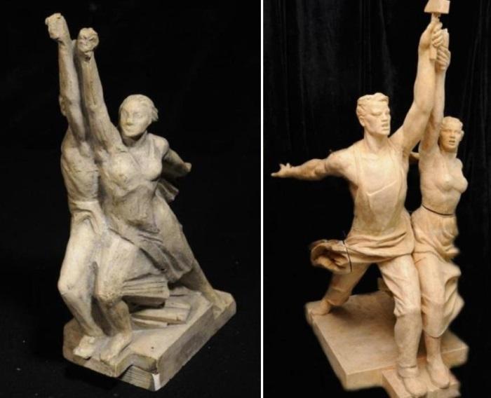Гипсовая модель Б. Иофана и проект скульптуры В. Мухиной   Фото: zamos.livejournal.com