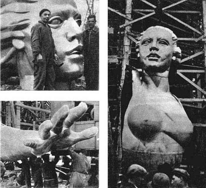 Процесс сборки статуи   Фото: vivovoco.ibmh.msk.su