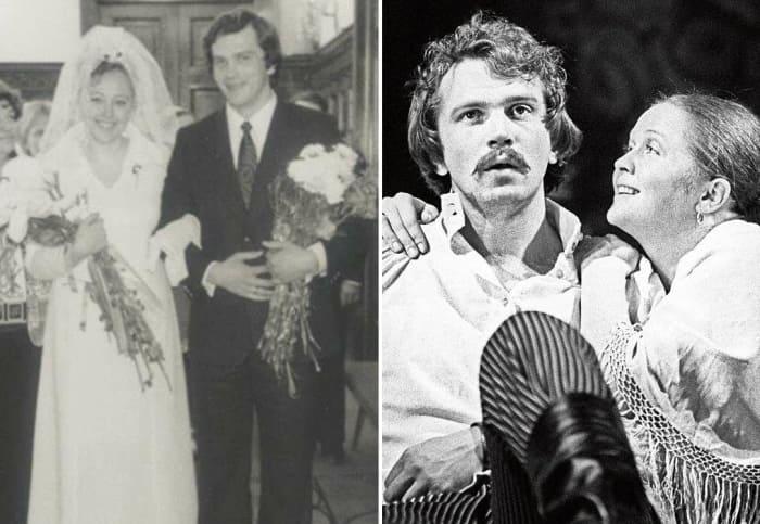 Слева – фото со свадьбы Натальи Хорохориной и Виктора Корешкова. Справа – актер с Натальей Гундаревой | Фото: kino-teatr.ru