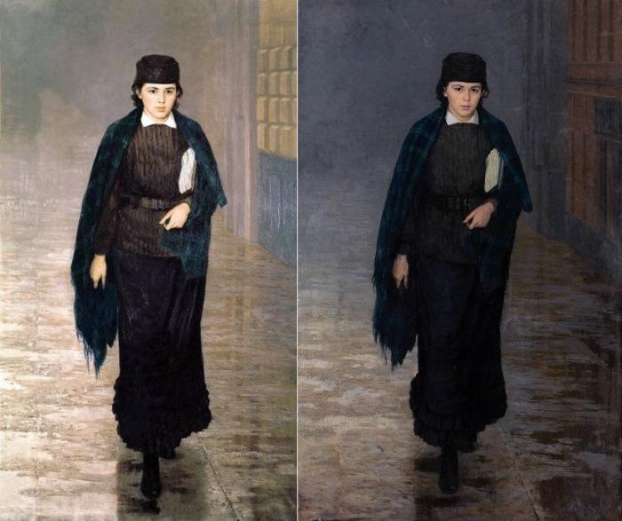 Н. Ярошенко. Курсистка, 1883. Два варианта картины