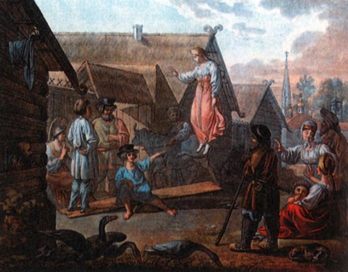 И. Кокере. Игра *Скакать на доске*. Гравюра с рисунка Е. М. Корнеева, 1810-е