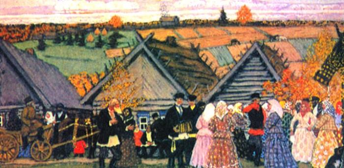 Б. М. Кустодиев. Праздник в деревне. Эскиз к картине, 1907