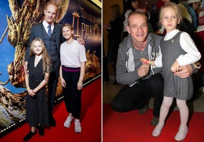 Актер с дочерьми   Фото: stuki-druki.com, vokrug.tv