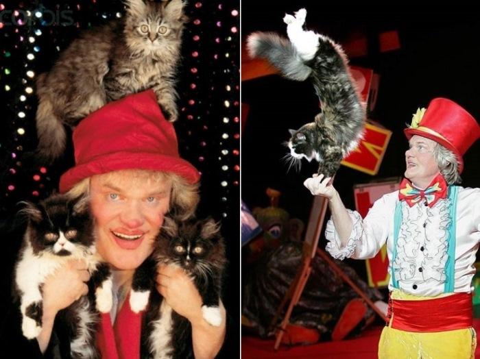 Основатель *Театра кошек* Юрий Куклачев | Фото: ya-kloun.ru и vilingstore.net