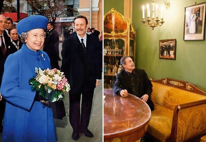 Королева Елизавета II во время визита в Малый театр и портрет с ее автографом в кабинете Юрия Соломина | Фото: 7days.ru