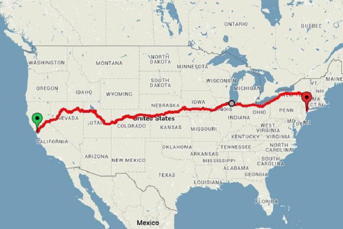 На карте отмечен маршрут Дерека Лоу