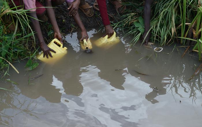 Дети набирают воду в болоте. Кения, Мвеа.