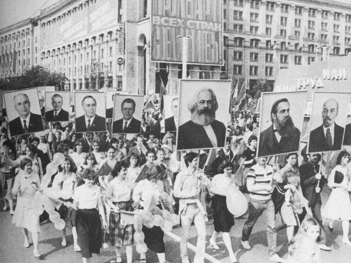 Первомайская демонстрация на Крещатике, 1986 год.