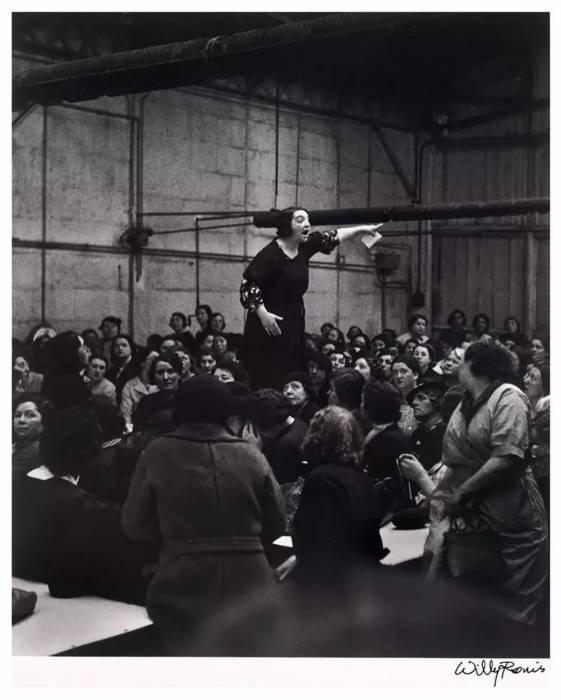 Работницы во время забастовки на заводе Ситроен в 1938 году.