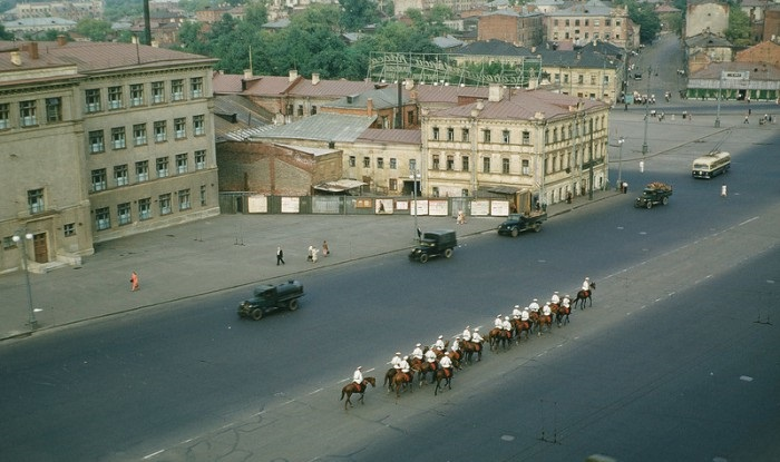 Конная милиция. СССР, Москва, 1950-е годы.