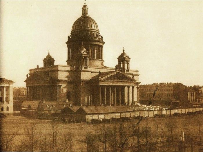 Вид на Исаакиевский собор в 1853-1854 году.