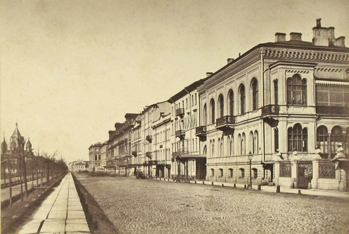 Вид на Конногвардейскую улицу. Санкт-Петербург, 1870-е годы.