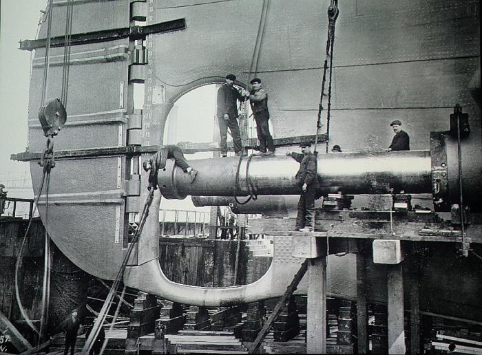 Валы винтов Титаника на момент строительства.