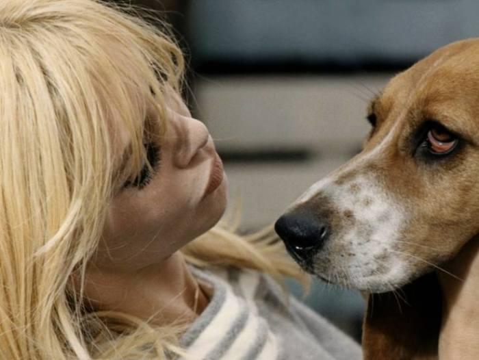 Брижит Бардо с собакой, которую она так любит.